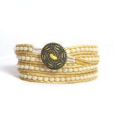4layer Leather Cord Wrap Bracelet Pearl Beads Boho Chic Bracelet by BarefootChic on Etsy