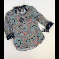 "Chaps Paisley Fitted 3/4 Sleeve Shirt NWT The coordinating polka dot cuffs and collar make this fitted button down pop! Wear it buttoned or open with a tank underneath. So cute with white and also denim, red, navy Khaki and more! Nicely fitted. No iron 100% cotton. Chest 39"". NWT no damage or defects Chaps Tops Button Down Shirts"