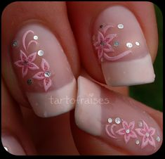 """French Manicure with pink white floral / flowers water slide decals with """"fish scale glitter - easy free hand and decal nail art"""