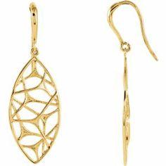 14K Yellow Web Design Dangle Earrings. Find it at a jeweler near you: http://stuller.com/locateajeweler/