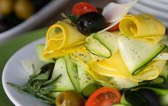 Zucchini ribbon & olive salad with fresh oregano and lemon by louisemellor #Salad #Zucchini #louisemellor