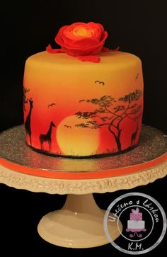 First time using airbrush, handpainted silhouettes (no stencils. Unique Cakes, Creative Cakes, Beautiful Cakes, Amazing Cakes, Africa Cake, Sun Cake, Airbrush Cake, Silhouette Cake, Safari Cakes