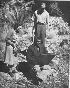 Albert Namatjira painting at Standley Chasm, MacDonnell Ranges in August 1946  His Royal Highness, the Duke of Gloucester and the Duchess  Image from Modern Australian Aboriginal Art by Rex Battarbee  Angus and Robertson Sydney London 1951