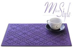 PAIR-of-Purple-Felt-Placemat-Rectangle-Table-Mat-Openwork-Design