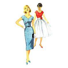 1950s Misses Scalloped Neck Dress and Cummerbund Simplicity 2574 Vintage Sewing Pattern