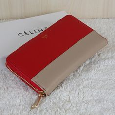 Celine Clutch Leather Red Apricot Wallet $155.00