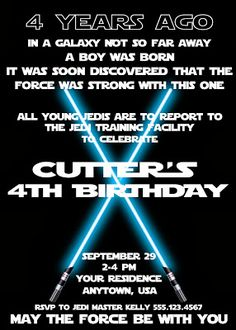 Star Wars Birthday Party invite
