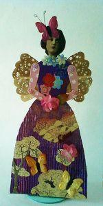 Paper Art Doll Original Mixed Media entitled LOVE by Robin Larido
