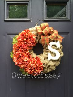 Fall hydrangea wreath  Fall, autumn, burlap wreath