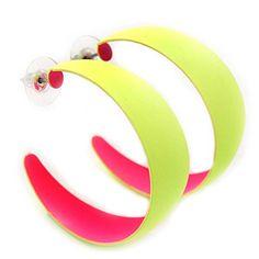 Neon Yellow/ Neon Pink Hoop Earrings - 45mm Diameter Neon Jewelry, Plastic Jewelry, Punk Earrings, Hoop Earrings, 80s Party Outfits, Neon Accessories, Neon Design, Plastic Flowers, Neon Yellow