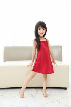 Spaghetti Strap Silk Nightgown for Girls-Wine red