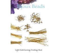 Light Gold Earrings Findings Pack or Starter Kit