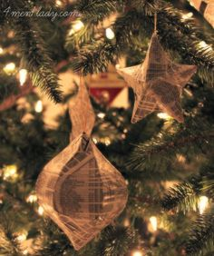 Phone Book DIY Ornaments | Recycle old phone books with this Christmas craft.