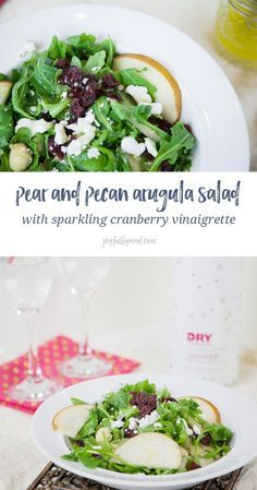 This light pear and pecan arugula salad is packed with sweet and salty flavors with a homemade sparkling cranberry vinaigrette dressing. via /joyfullymad/