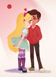 """lavendermoon-v: """" smooch buddies heres some wholesome starco content drawn by urs truly feat. star butterfly's season 3 outfit ! the bloodmoon) """" Starco, Anime Stars, Cute Couple Cartoon, Evil Art, Phineas And Ferb, Star Butterfly, Disney Stars, I Love Girls, Star Vs The Forces Of Evil"""