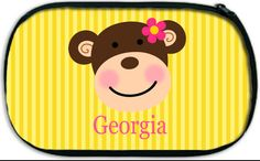 Personalized Accessory Bag Kids Diaper Bag Accessory Travel Case Toiletries Bag MONKEY BUSINESS    A personalized carry-all bag from Pink Wasabi