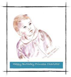 Aniversário de 1 ano da Princesa Charlotte. Homenagem de Maria Cecilia Camargo.  Princess Charlotte´s first birthday. Maria Cecilia Camargo´s tribute  #art #artist #princess #katemiddleton #portriait #london #happybirthday #Charlotte #digitalart