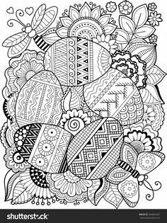 Vector Coloring Book For Adult Easter Egg