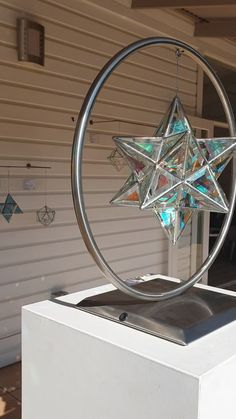 Scorpius in dichroic glass The Scorpious shape is theGreat Stellated Do- Geometric Pendant Light, Glass Pendant Light, Jack Storms Glass, Bedroom Crafts, Stained Glass Crafts, Handmade Lamps, Glass Artwork, Sacred Geometry, Geometry Art