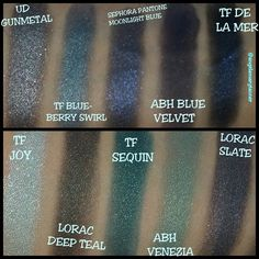 Blue swatches from urban decay, too faced, lorac, Anastasia Beverly Hills and sephora pantone