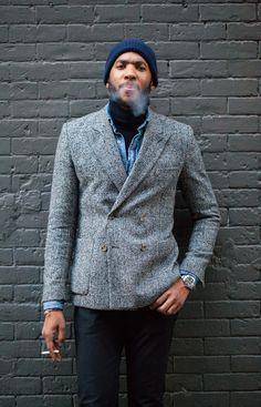 CB Rucker beanie menswear grey jacket
