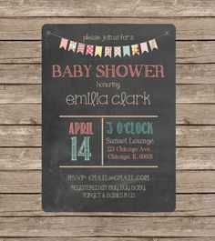 Chalkboard Bunting Banner Baby Shower Invitation by TheAvocadoSeed, $15.00