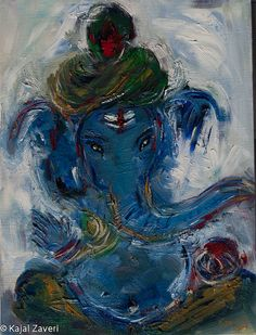 Blue Ganesh by KajalZaveriArt on Etsy