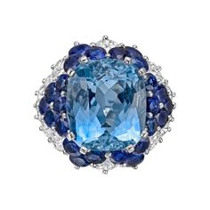 Estate Betteridge Collection ~ Aquamarine, Sapphire and Diamond Cocktail Ring