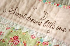 "Stitch a beautiful phrase on a baby's crocheted blanket ~ free ""Sweet Dreams Little One"" pdf pattern"