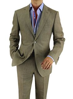 Bianco B Men's Modern Fit Two Button 2 Piece Linen Suit (44 Regular US / 54 Regular EU, Plaza Taupe)