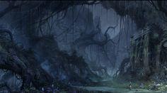 As the adventurers venture into the Forsaken Wood, an ancient city ruin lie before them. The Forsaken Wood Fantasy Illustration, Landscape Illustration, Watercolor Illustration, High Fantasy, Fantasy Art, World Of Warcraft Wallpaper, Qhd Wallpaper, Iphone Wallpaper, Dark Drawings
