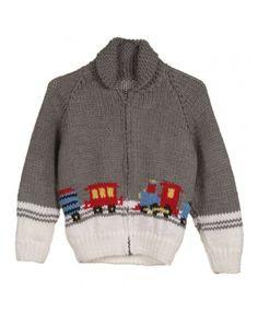 Kid's Grey & White Train Design Buffalo Cardigan   Clothing   Rokit Vintage Clothing