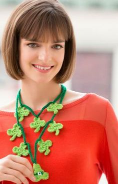 Shamrock Charm Necklace Free Crochet Pattern from Red Heart Yarns