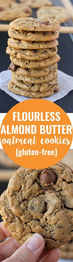 Gluten-free and made with pantry…Flourless Almond Butter Oatmeal Cookies! Gluten-free and made with pantry… Dessert Sans Gluten, Low Carb Dessert, Gluten Free Sweets, Gluten Free Baking, Dairy Free Recipes, Whole30 Recipes, Paleo Dessert, Egg Recipes, Gluten Free Desserts