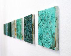Abstrakt auf Leinwand 20x20 cm türkis von AtelierMaltopf auf Etsy, $34.00