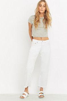 Urban Renewal Vintage Customised Levi's 501 Cropped White Jeans