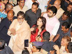 Amitabh Bachchan, Aishwarya Rai and Abhishek Bachchan arrive at Lalbaugcha Raja #Bollywood #Fashion #Style #Beauty