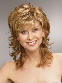 Want Blonde Wavy Synthetic Perfect Medium Wigs? Wigsis offers various mid-length haircuts wigs, top quality with latest colors & styles. Get fantastic mid-length wigs to achieve the most charming look. Medium Hair Styles, Curly Hair Styles, Wilshire Wigs, Medium Layered Hair, Hair Medium, Real Hair Wigs, Shag Hairstyles, Hairstyle Short, Hair Dos
