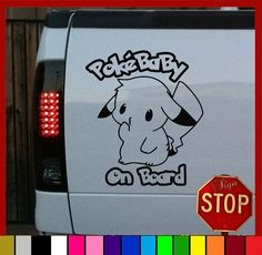 "Pikachu Pokemon Baby On Board ""PokeBaby"" Sticker Decal by SignStopIndy, $3.99"