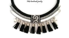 Tribal necklace/wrapped rope necklace/african necklace/handmade/statement necklace/bohemian/ethnic necklace/black/white/silver tone/jewelry (44.00 USD) by NikaHandmadeJewelry