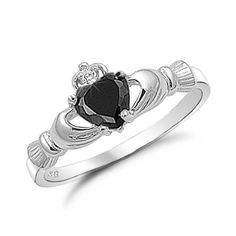 Sterling Silver Simulated Black Onyx Claddagh Ring