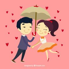 Hand drawn couple in love with umbrella Free Vector