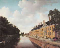 Joris van der Haagen -  View of the Prinsessegracht in The Hague, where the Confrerie Pictura was situated by Van der Haagen. The figures were painted by Ludolf Leendertsz de Jongh.
