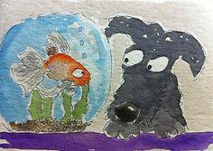 ACEO Original Watercolour Archy The Scottie Dog New Friend | eBay