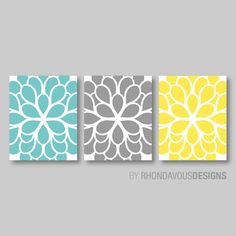 Yellow bedroom Art - Flower Wall Art Teal Blue Yellow Gray Dahlia Flower Print Trio Bathroom Art Bedroom Art Bath Art Home Wall Art Bedroom Nursery Blue Yellow Grey, Teal And Grey, Yellow Accents, Color Yellow, Yellow Art, Gray Color, Bath Art, Bathroom Art, Bathroom Ideas