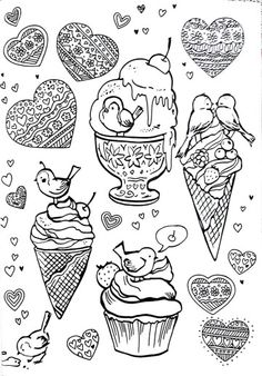 Ice Cream Cones Coloring Pages Books Theme Parties Print Colouring Vintage Themed