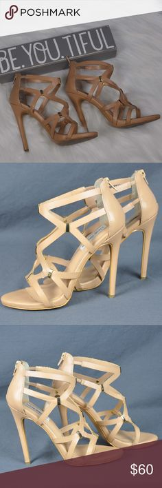"""Steve Madden Paddy Sandals Heels Stilettos Sz: 7.5 Womens Steve Madden Paddy Zip Back Tan Sandals High Heels Stilettos Shoes are in good pre-loved condition.  - Natural color with gold tone accents - Zipper back - Comes with two sets of replacement heel tips - Approx 0.5"""" Platform - 4 3/4"""" Heel - Ships in shoe box  Smoke free pet friendly home  Internal SKU: SHOE7  These Steve Madden Paddy Zip Back Tan Sandals women Stiletto Heels Shoes are sure to turn heads, so don't miss out. Steve Madden…"""