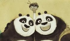Kung Fu Panda 3 funny family painting - Po (Loto) and Fathers (goose Mr. Ping and panda Li Shan)