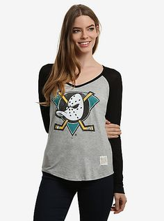 36e133fd7f NHL Anaheim Ducks Retro Logo Womens Raglan T-ShirtNHL Anaheim Ducks Retro  Logo Womens Raglan