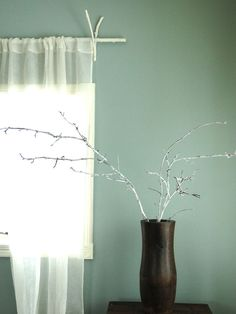 How to bring touches of the beach into your home, organically. Linen Curtains Coconut Vase Twigs. Lynne Knowlton